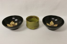 Song Style Celadon Cup And 2 Song Style Bowls