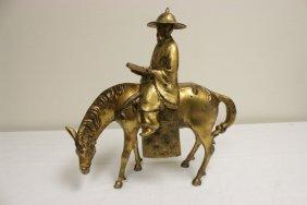 """Gilt Bronze Sculpture """"scholar On Horse"""""""