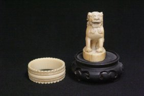 Chinese Ivory Carved Seal And Ivory Napkin Ring