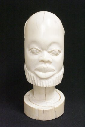 A Large Antique African Ivory Carved Head