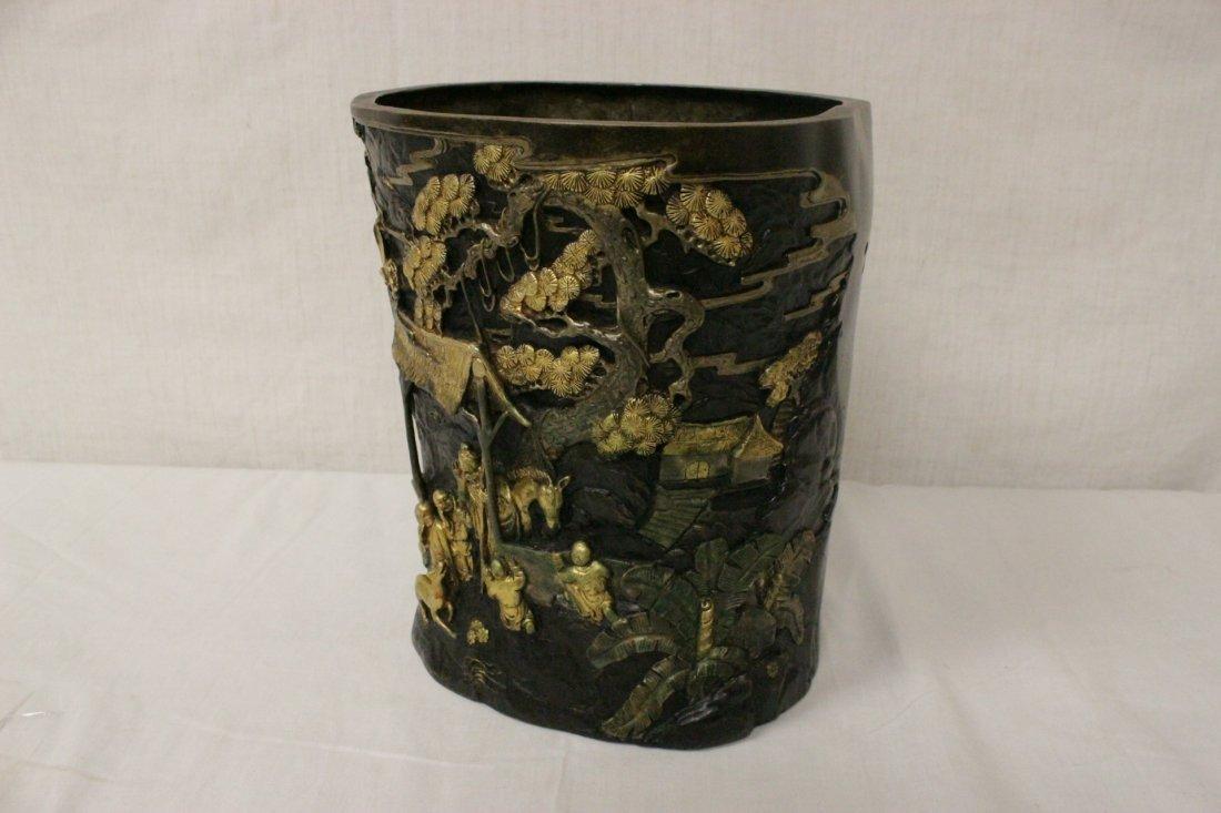 Parcel gilt bronze brush holder - 2