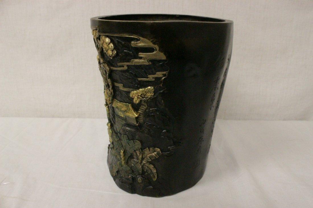 Parcel gilt bronze brush holder - 3
