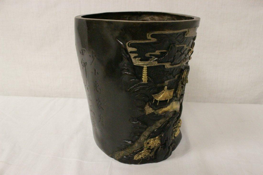 Parcel gilt bronze brush holder - 5