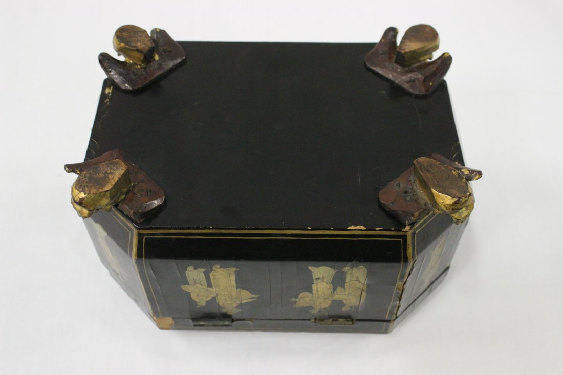 Chinese antique lacquer tea caddy - 10