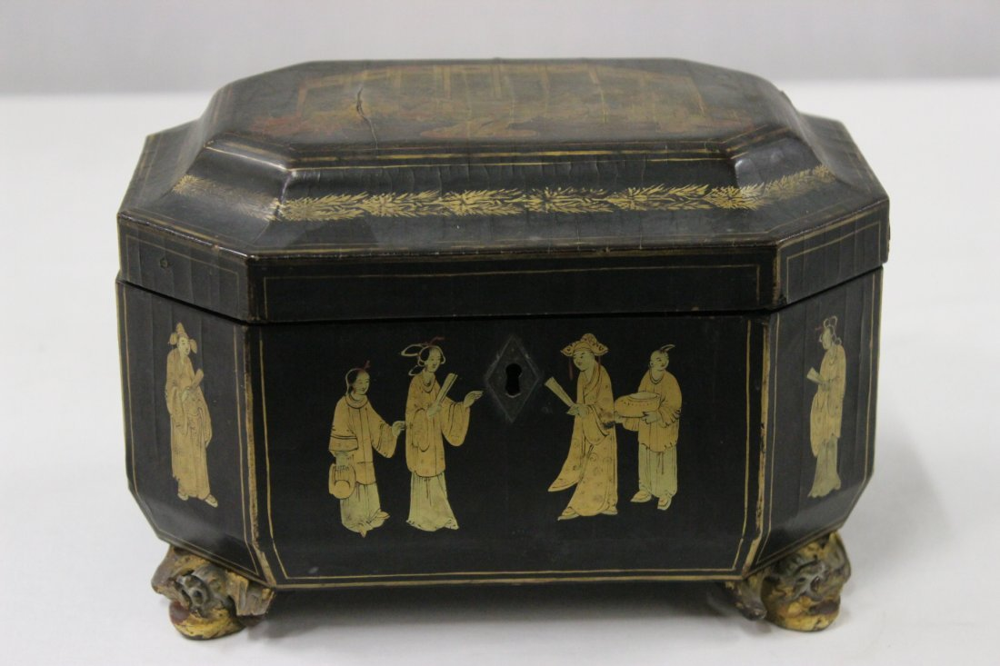 Chinese antique lacquer tea caddy