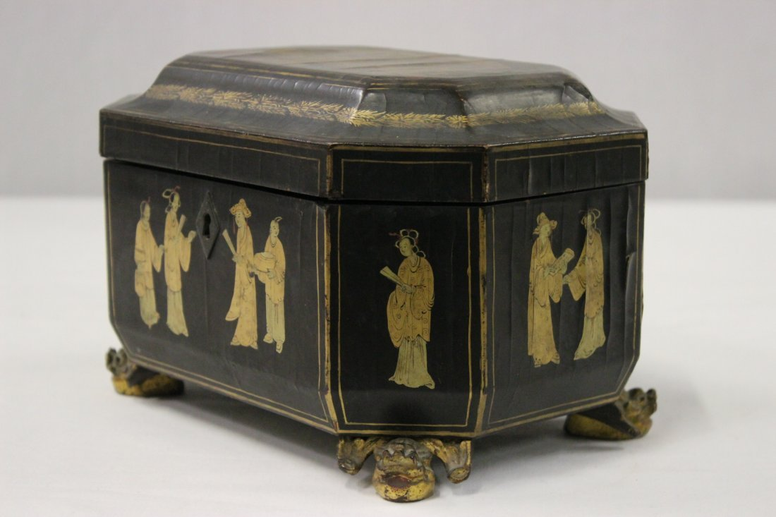 Chinese antique lacquer tea caddy - 3