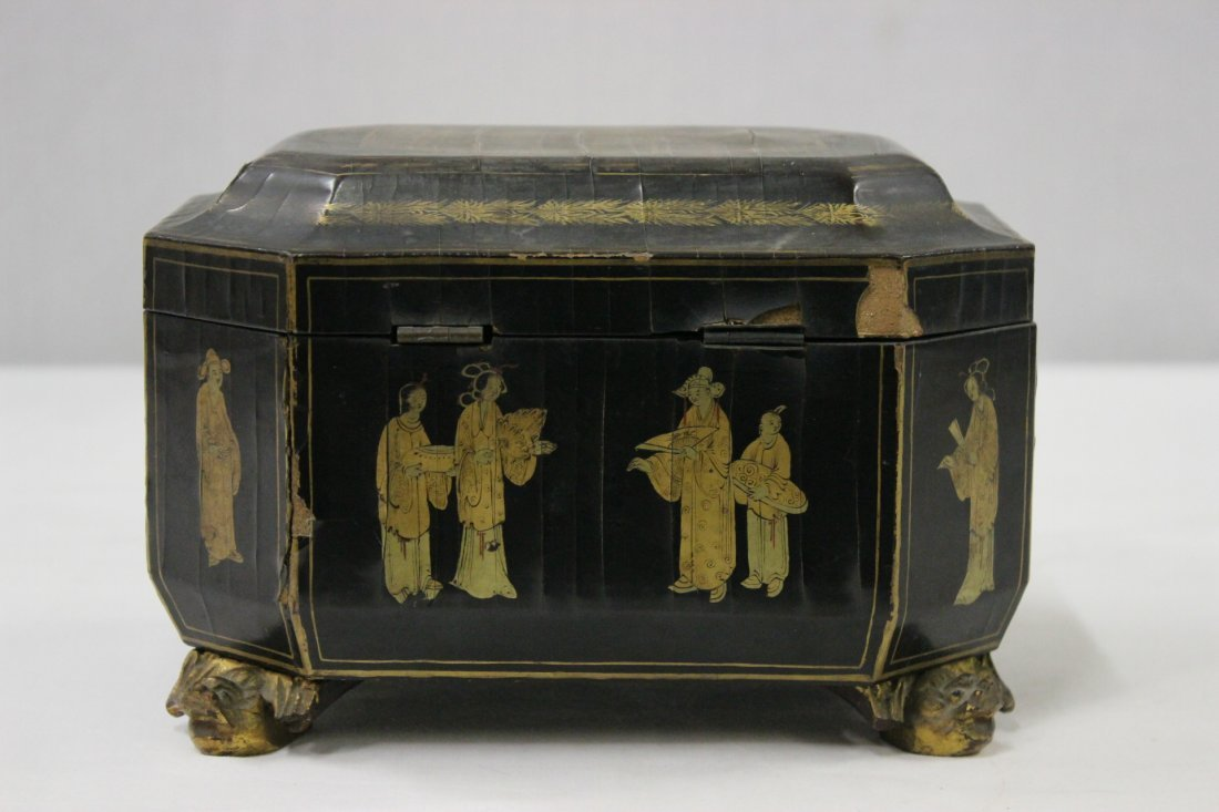 Chinese antique lacquer tea caddy - 4