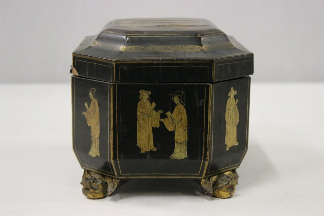 Chinese antique lacquer tea caddy - 5