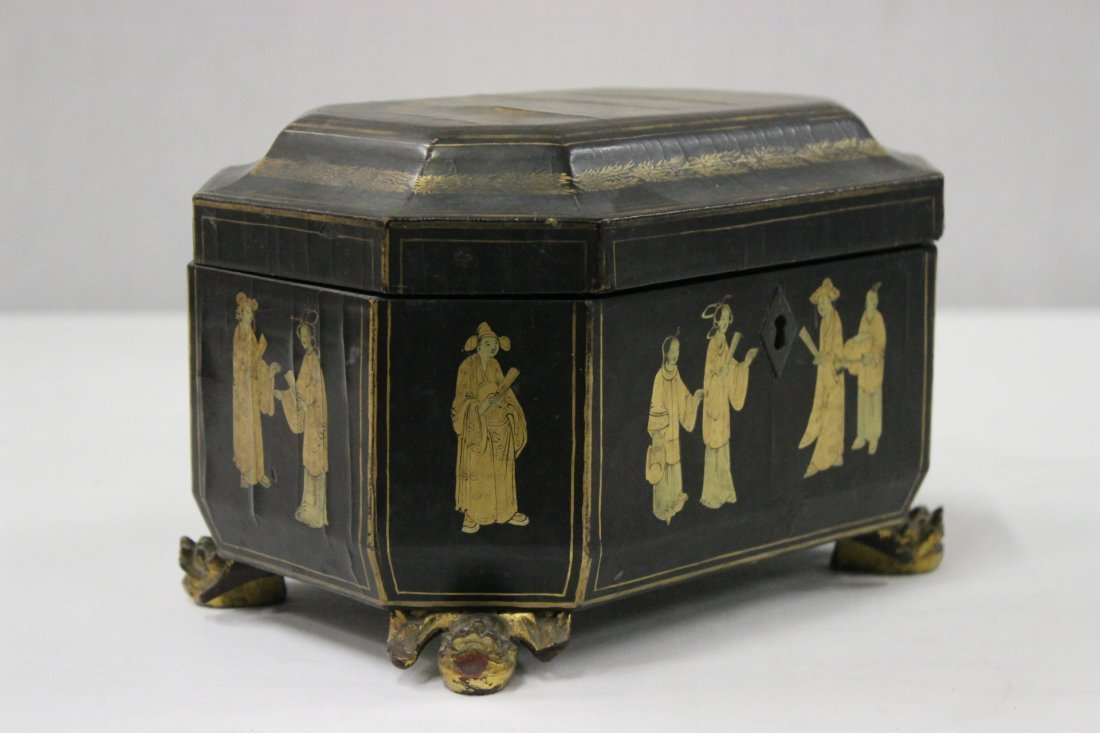 Chinese antique lacquer tea caddy - 6