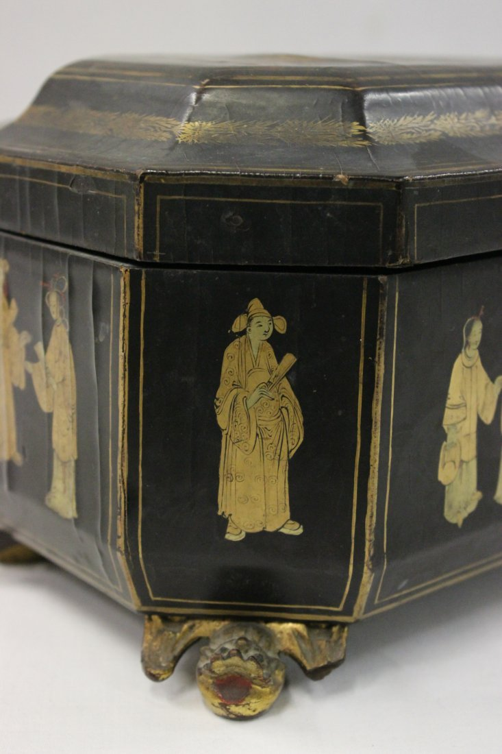 Chinese antique lacquer tea caddy - 7