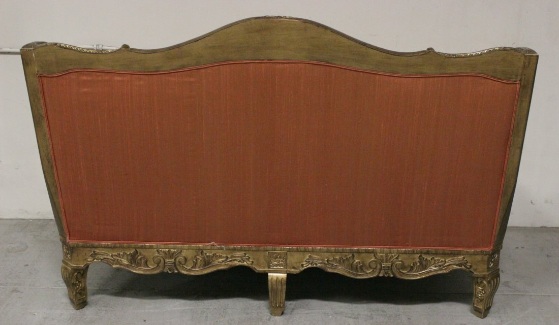 Italian gilt wood day bed w/ silk brocade upholstery - 10