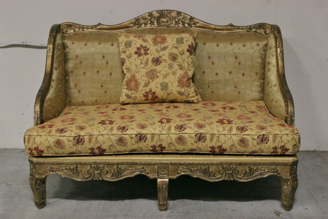 Italian gilt wood day bed w/ silk brocade upholstery