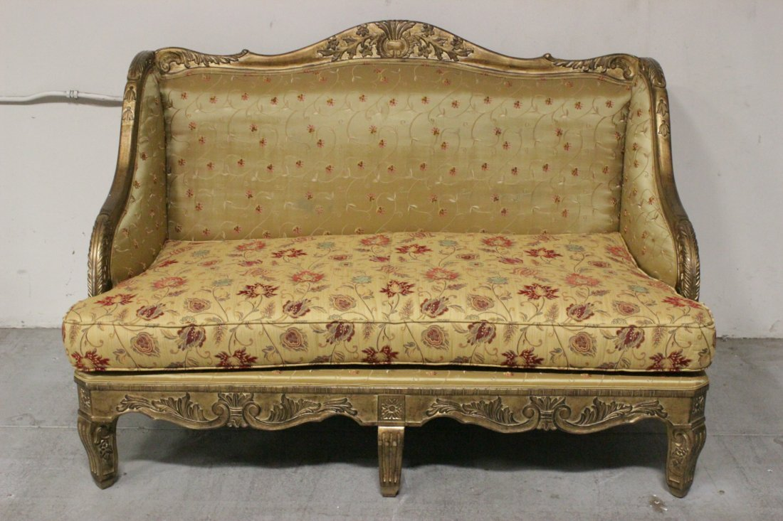 Italian gilt wood day bed w/ silk brocade upholstery - 2