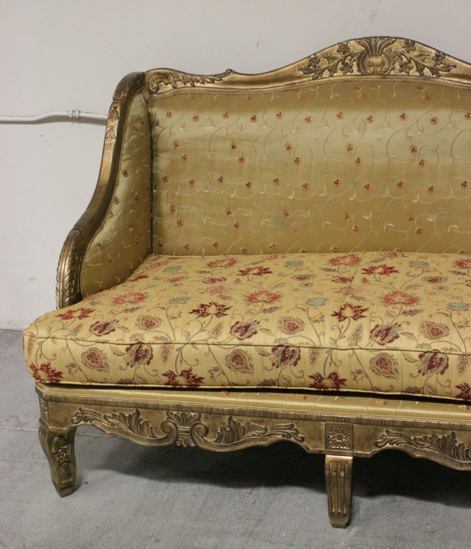 Italian gilt wood day bed w/ silk brocade upholstery - 3