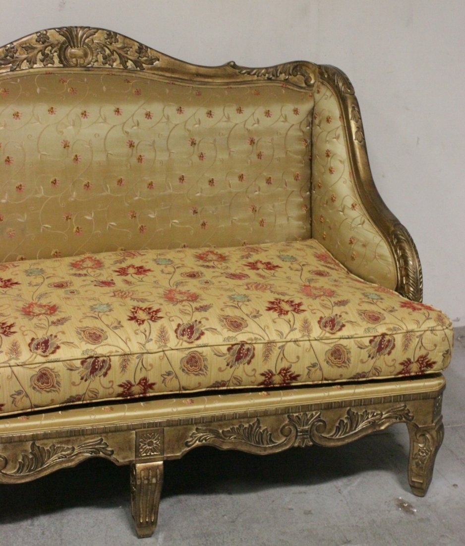 Italian gilt wood day bed w/ silk brocade upholstery - 4
