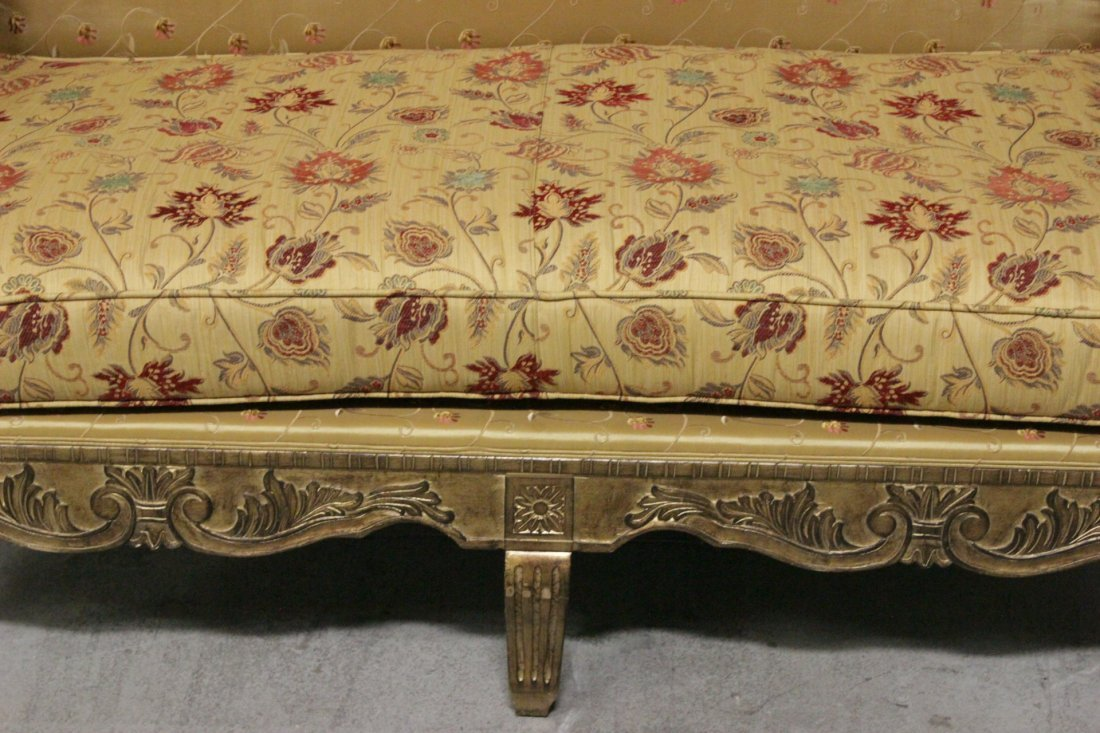 Italian gilt wood day bed w/ silk brocade upholstery - 5