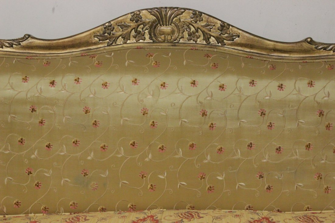 Italian gilt wood day bed w/ silk brocade upholstery - 6