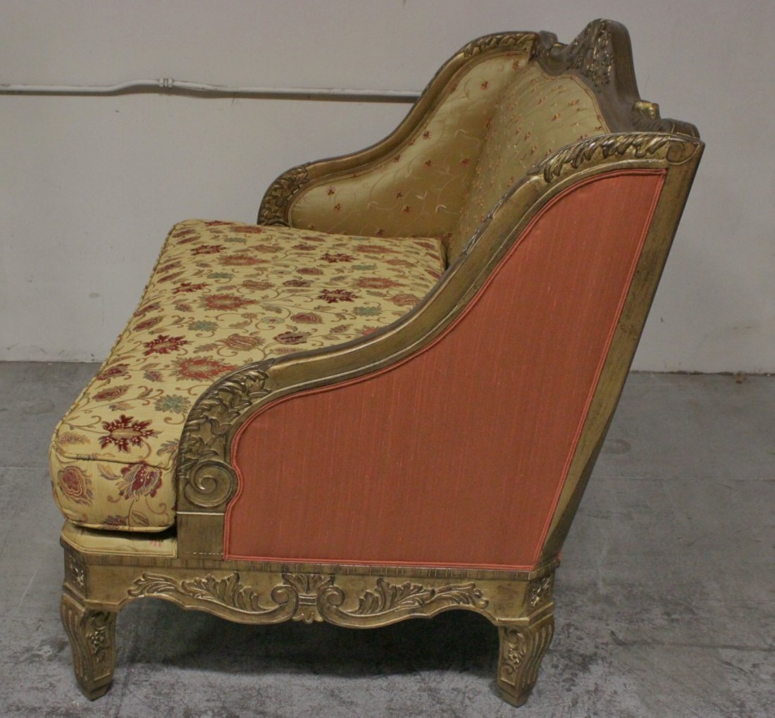 Italian gilt wood day bed w/ silk brocade upholstery - 8