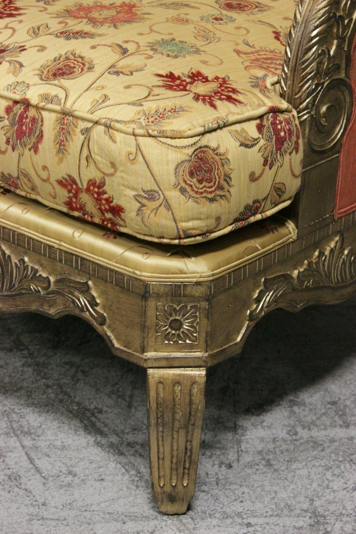 Italian gilt wood day bed w/ silk brocade upholstery - 9