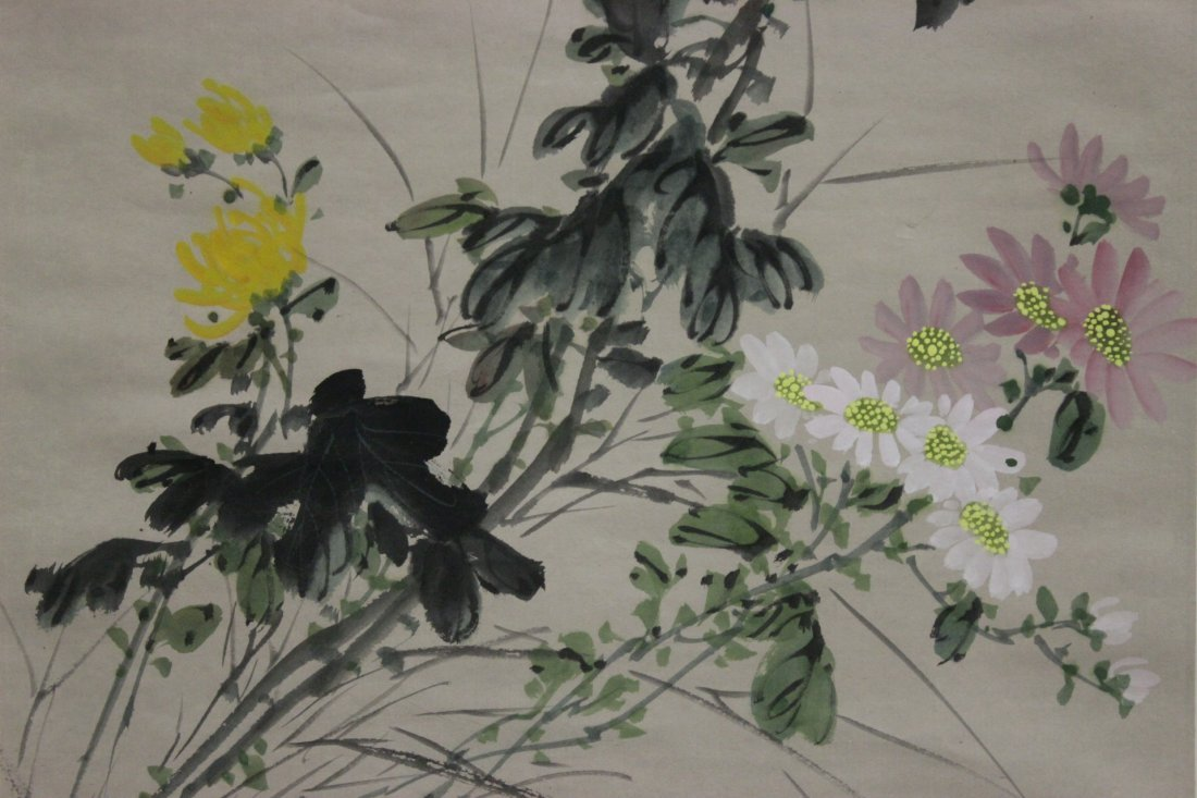 Chinese watercolor scroll depicting flowers - 7