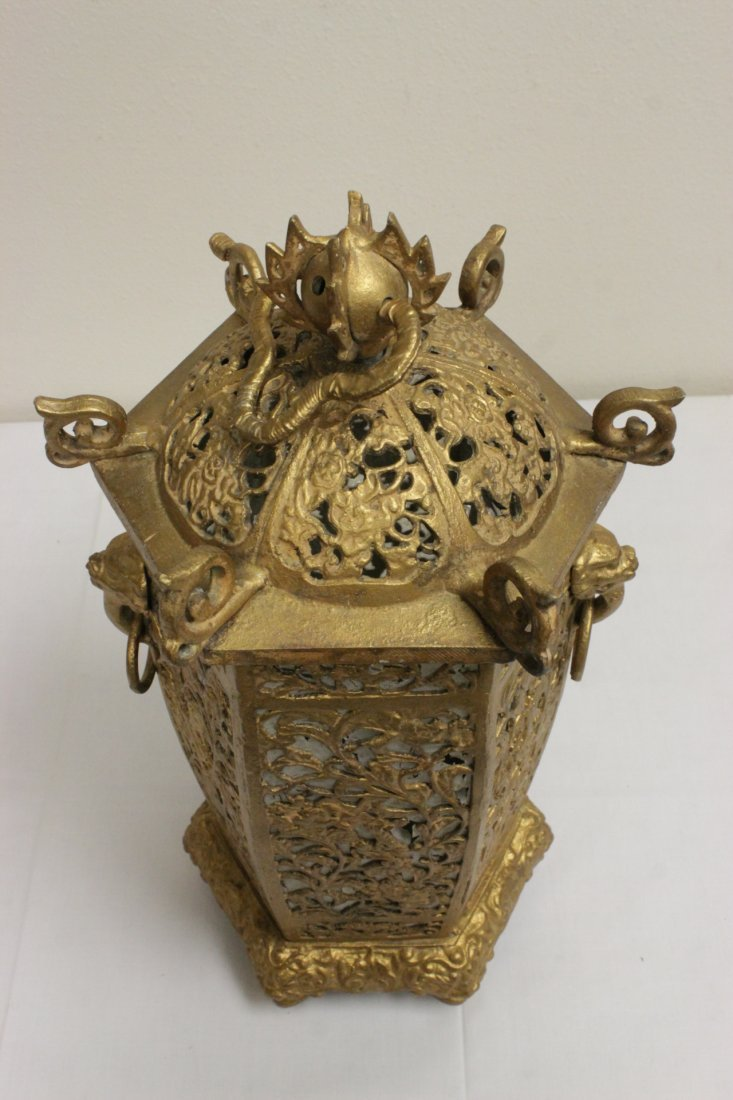 Chinese gilt metal lantern - 10