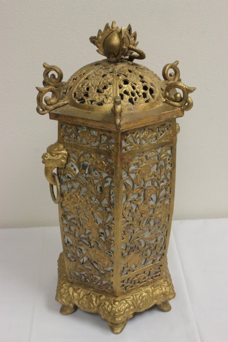 Chinese gilt metal lantern