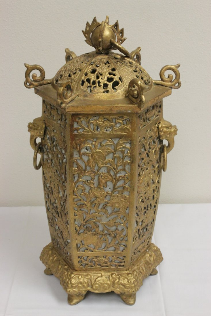 Chinese gilt metal lantern - 2