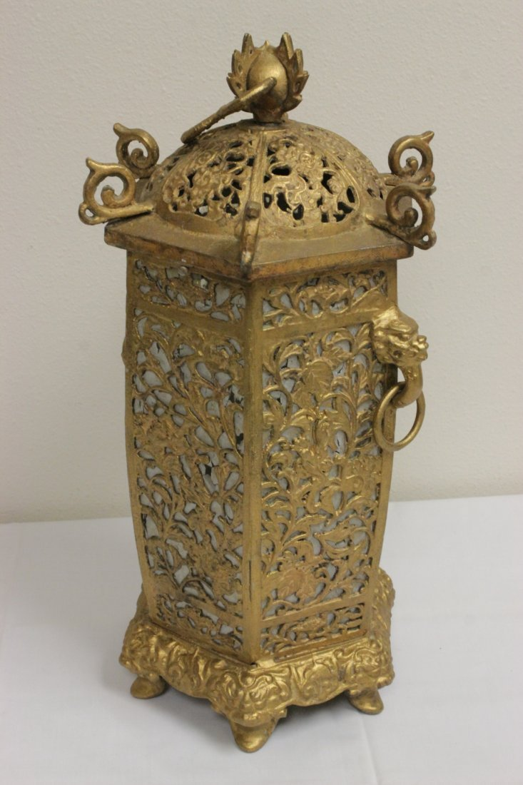 Chinese gilt metal lantern - 4