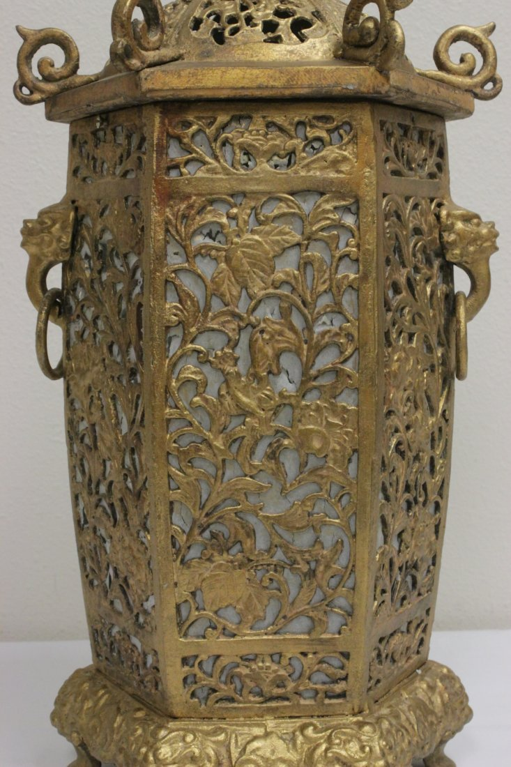 Chinese gilt metal lantern - 7