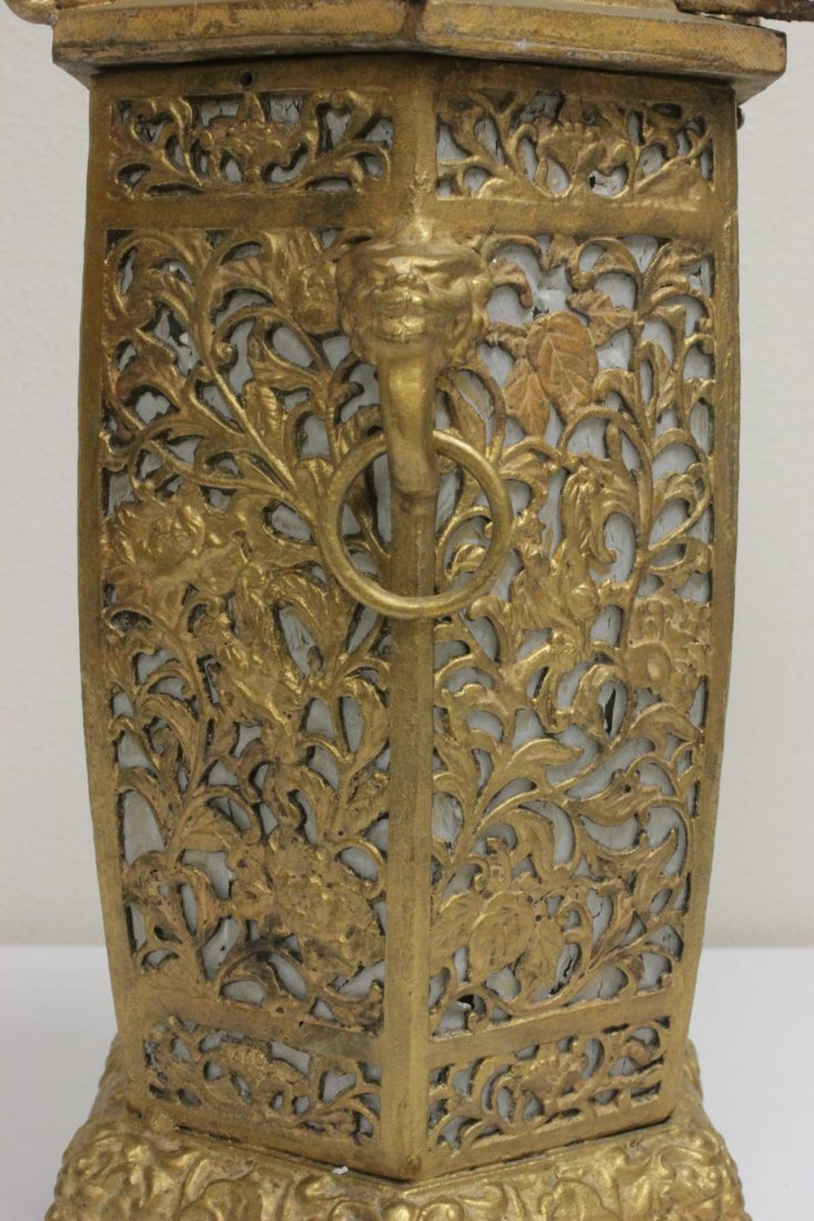 Chinese gilt metal lantern - 8