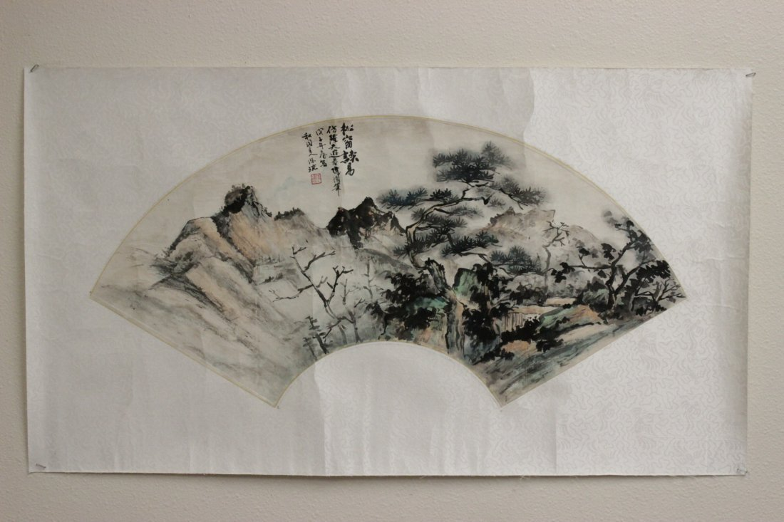 Chinese watercolor fan face - 2