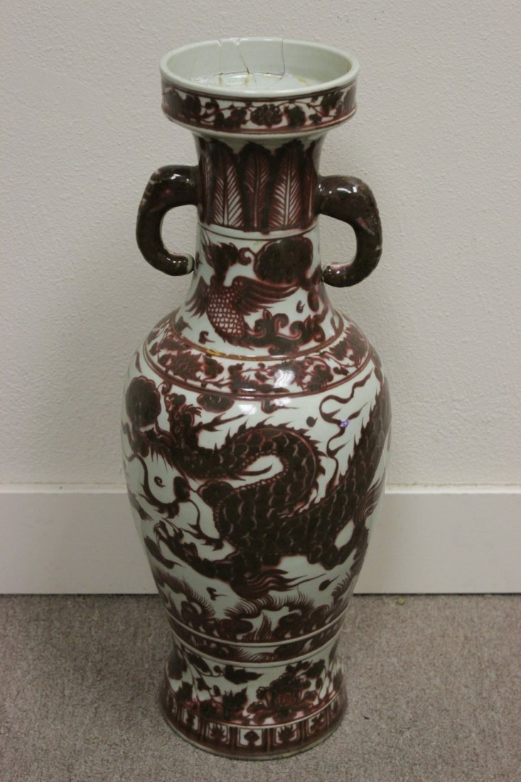 Chinese red and white large vase
