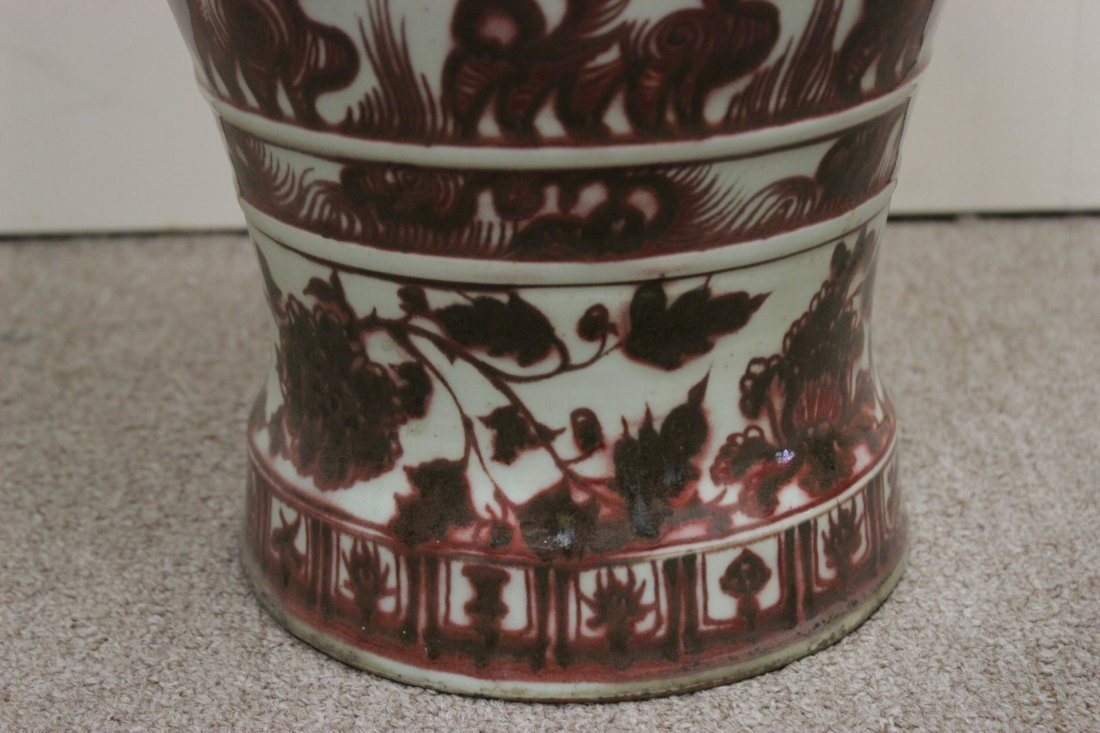 Chinese red and white large vase - 7