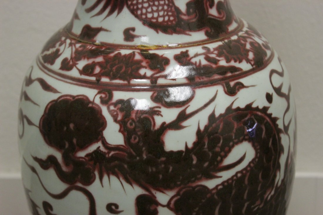 Chinese red and white large vase - 8