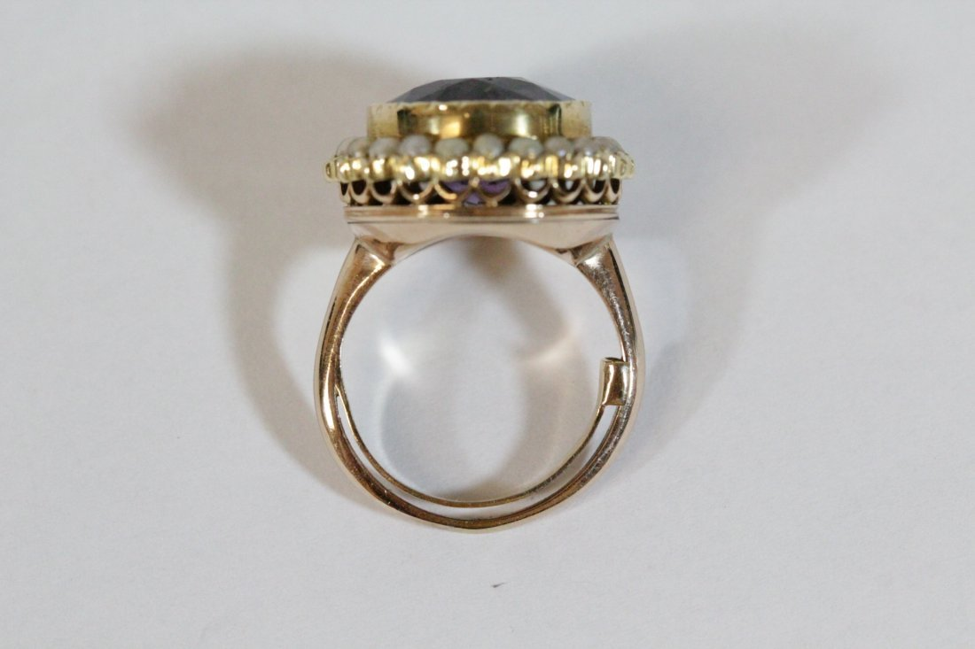 Victorian gold ring with amethyst and seed pearl - 10