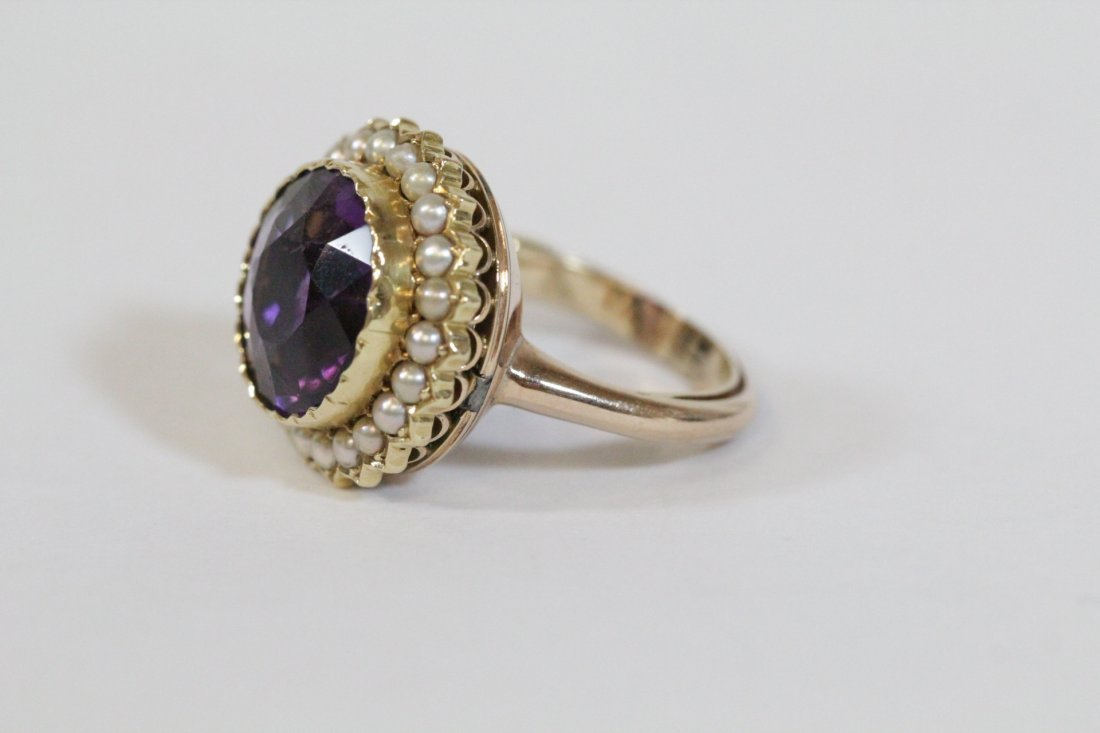 Victorian gold ring with amethyst and seed pearl - 2
