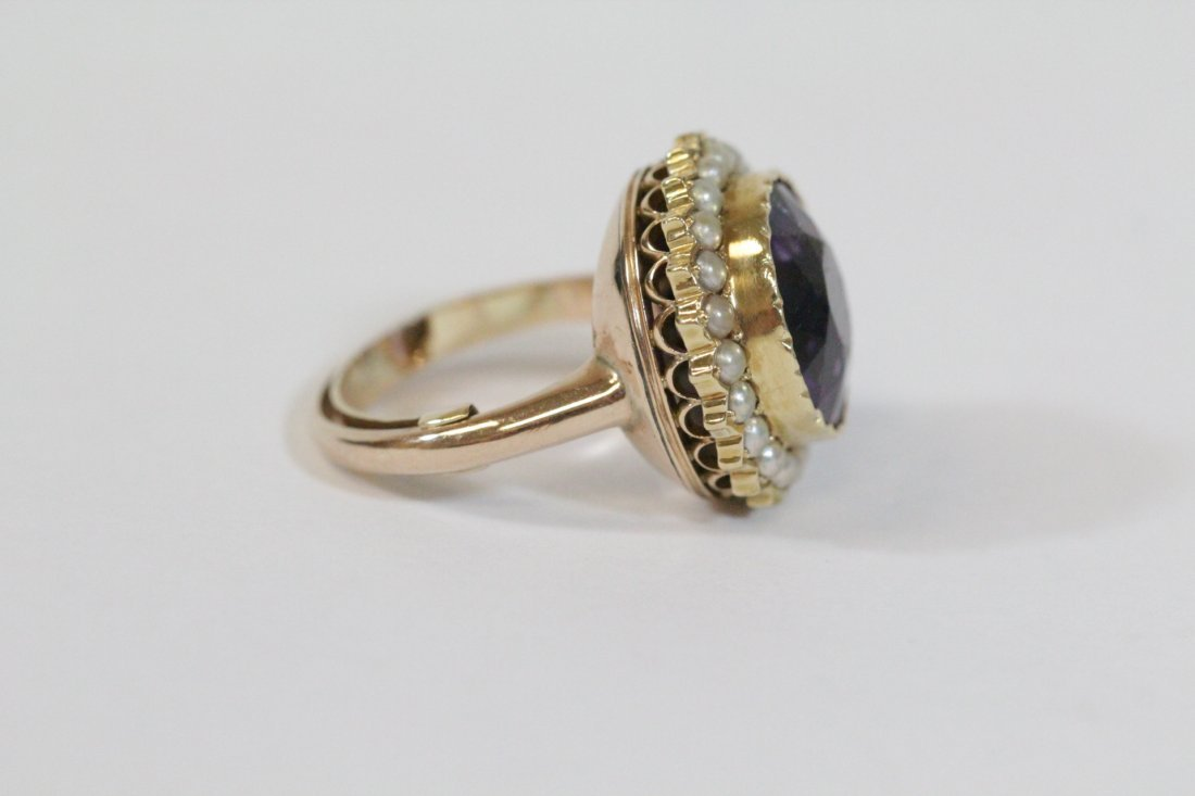 Victorian gold ring with amethyst and seed pearl - 3