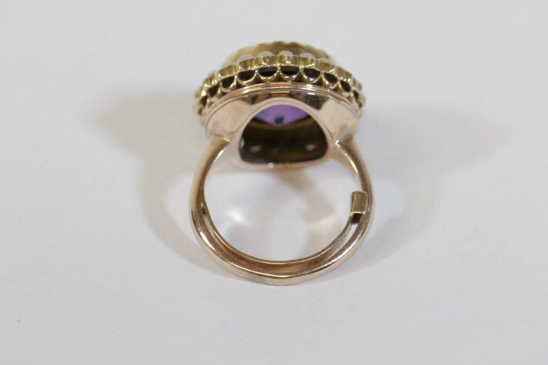 Victorian gold ring with amethyst and seed pearl - 4