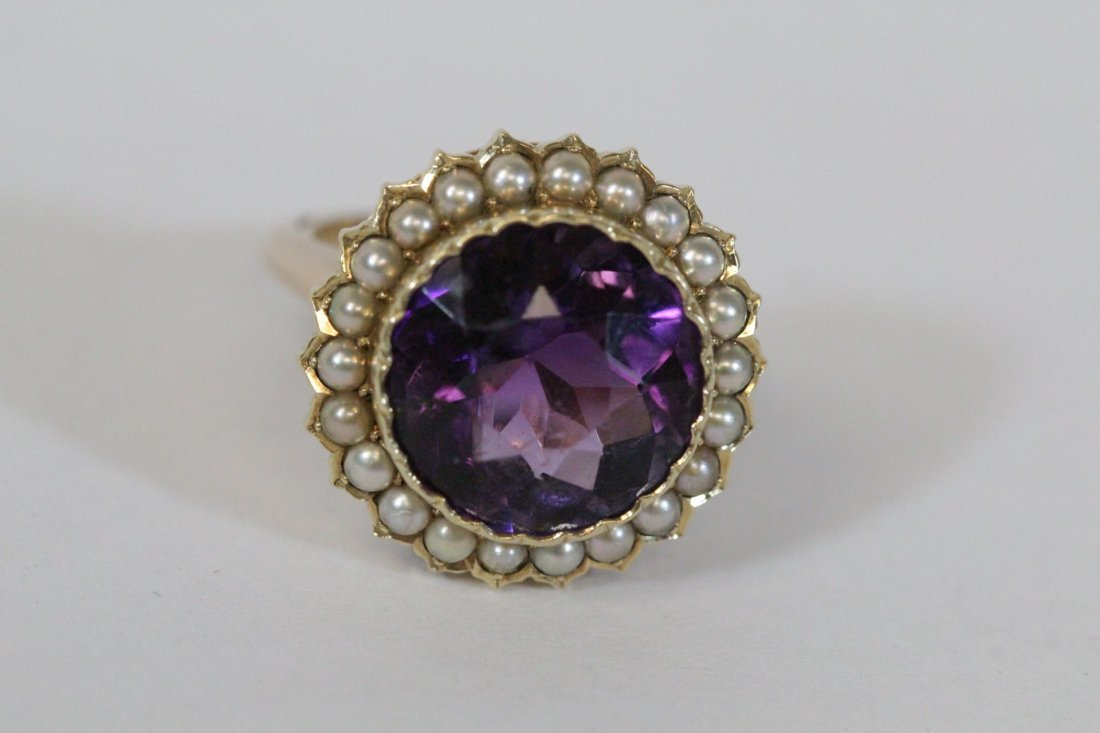 Victorian gold ring with amethyst and seed pearl - 5