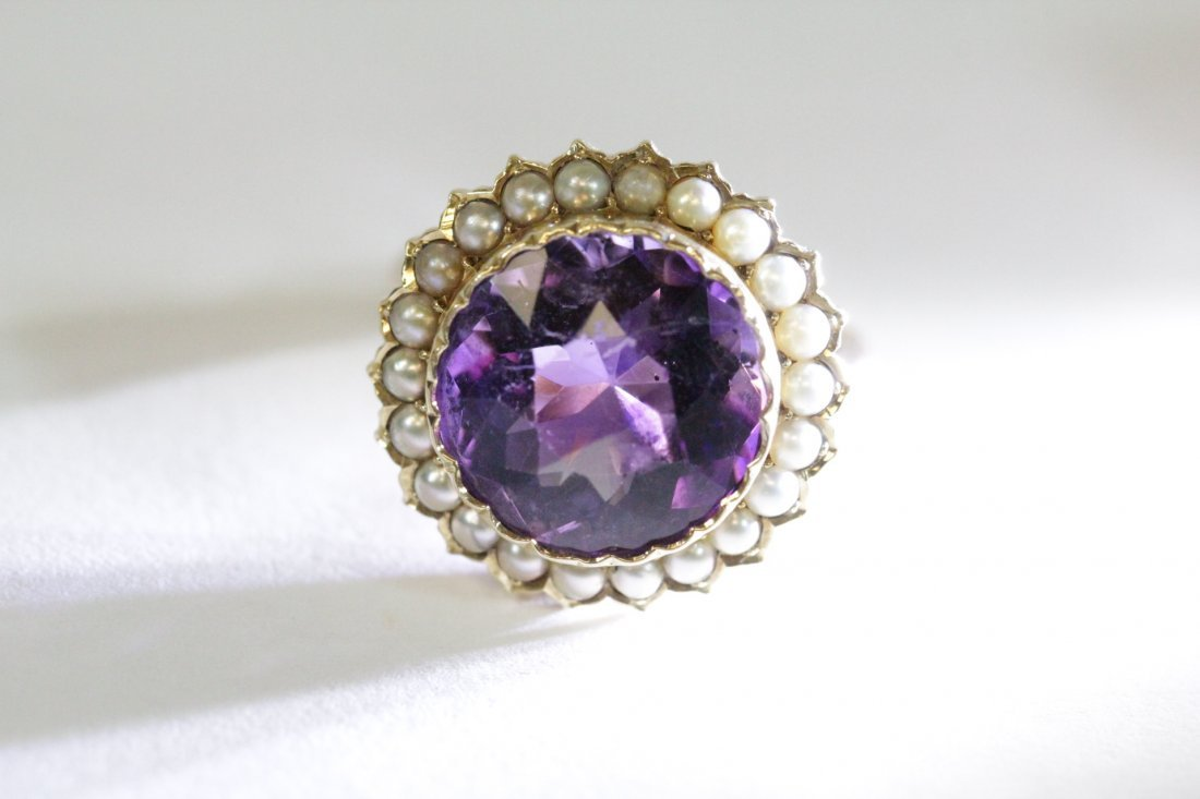 Victorian gold ring with amethyst and seed pearl - 6