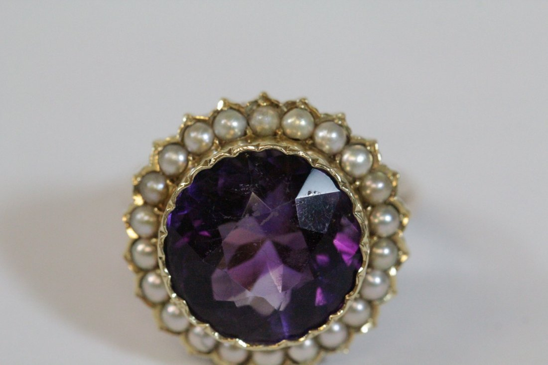 Victorian gold ring with amethyst and seed pearl - 7