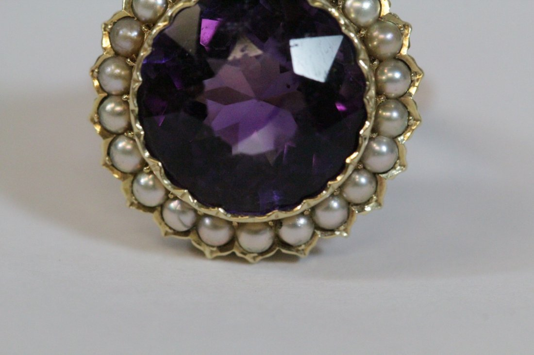 Victorian gold ring with amethyst and seed pearl - 8