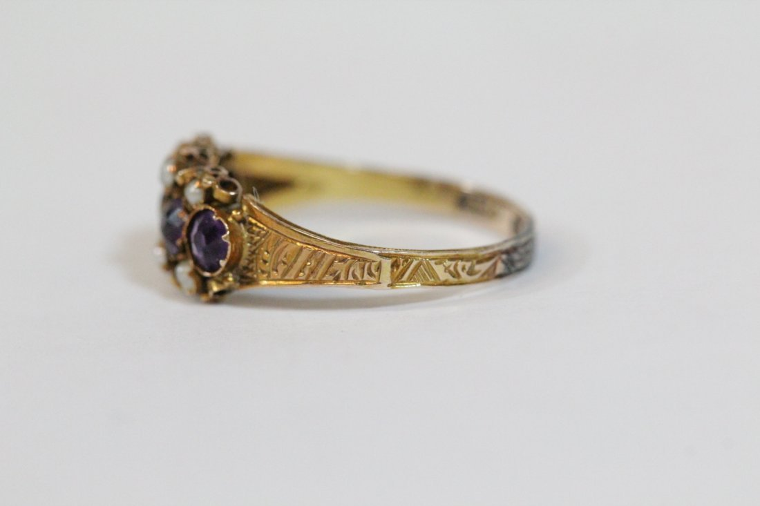English 15K gold ring w/ amethyst and seed pearls - 2