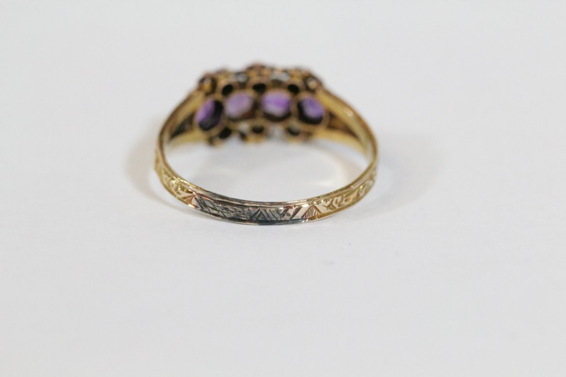 English 15K gold ring w/ amethyst and seed pearls - 4