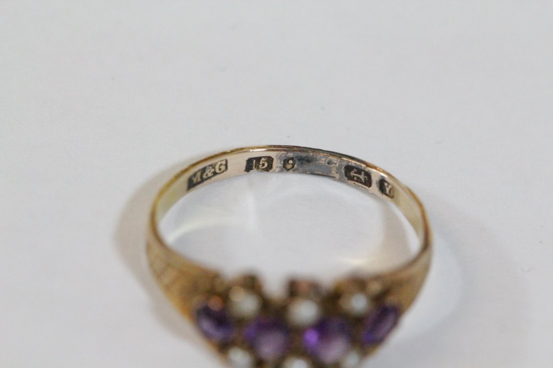 English 15K gold ring w/ amethyst and seed pearls - 5