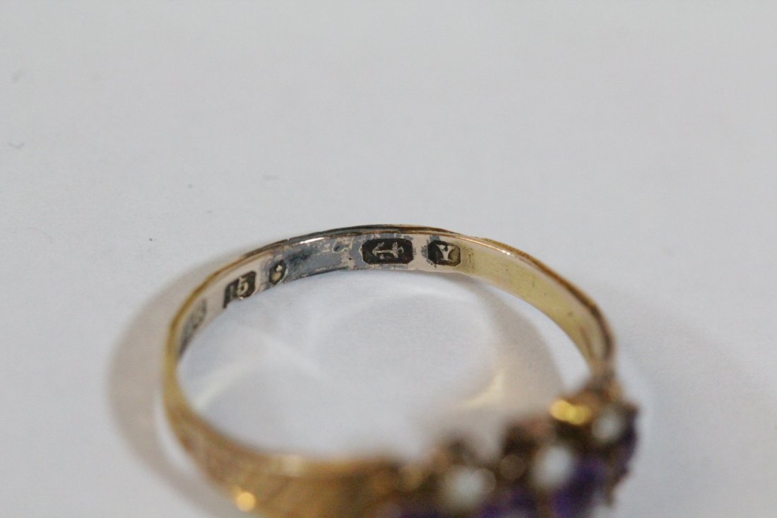 English 15K gold ring w/ amethyst and seed pearls - 6