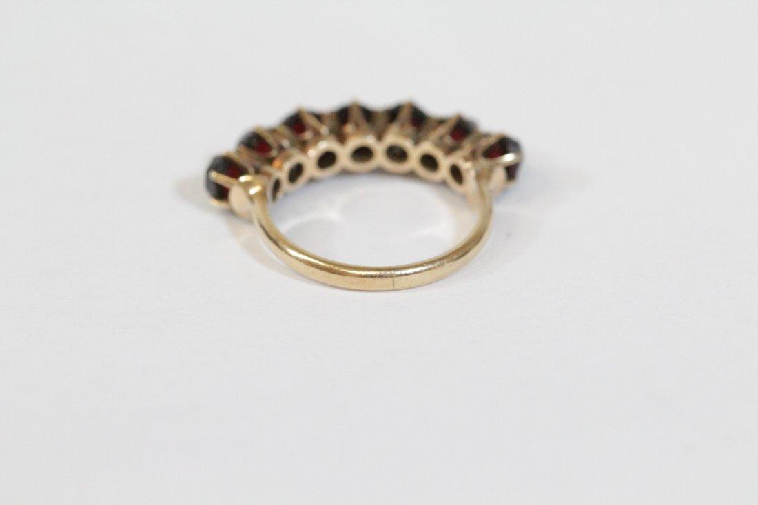 Victorian 14K ring set with rose cut garnet - 3