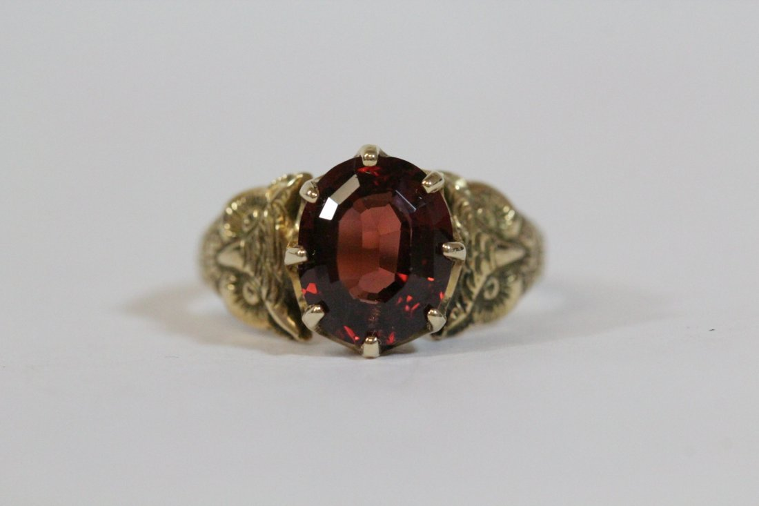 Victorian 14K ring, center possible garnet