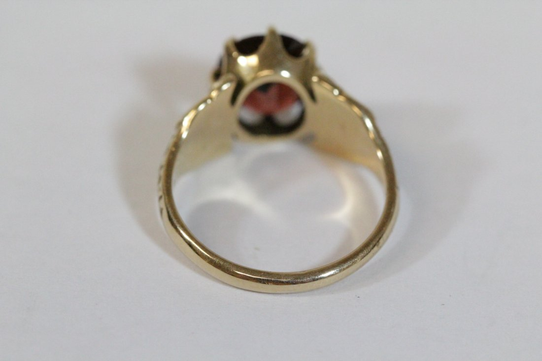 Victorian 14K ring, center possible garnet - 4