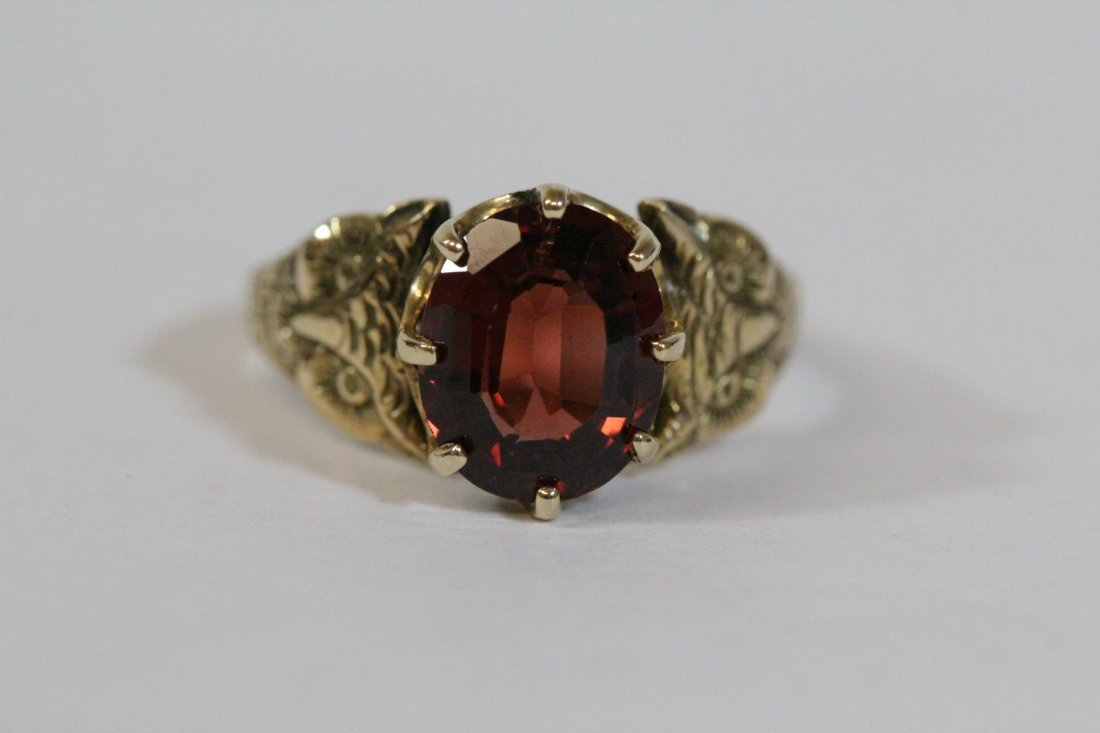 Victorian 14K ring, center possible garnet - 6